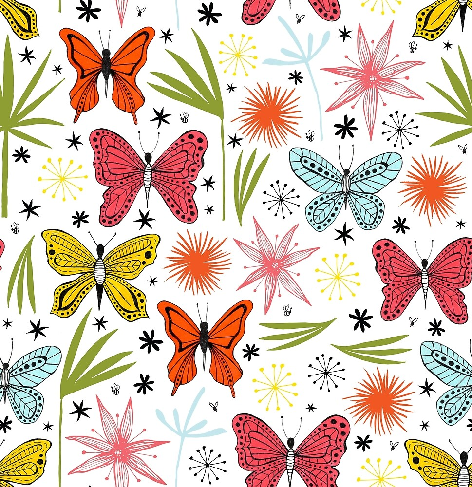 bright butterflies with leaves and flowers by Stacey Oldham