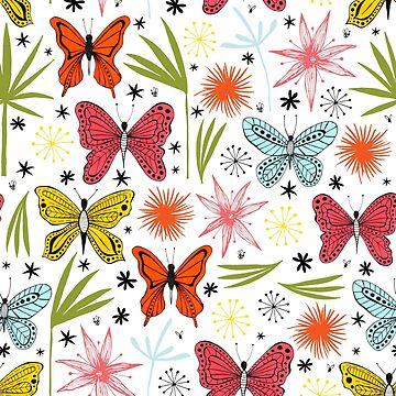 bright butterflies with leaves and flowers by swoldham