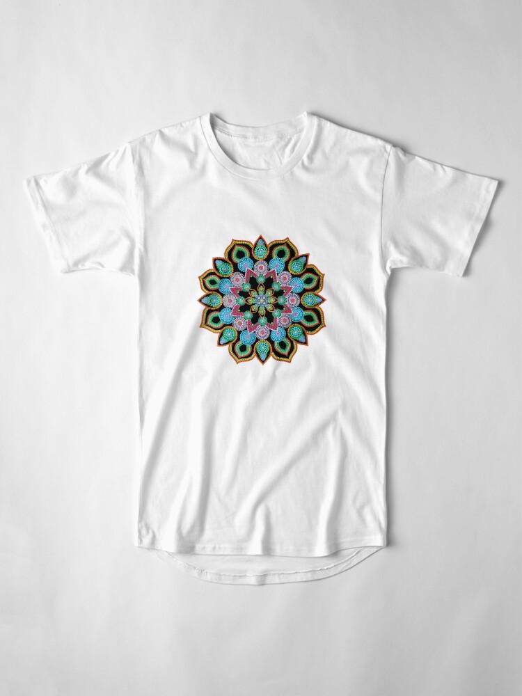 Alternate view of Red Star Dot Mandala - Art&Deco By Natasha  Long T-Shirt