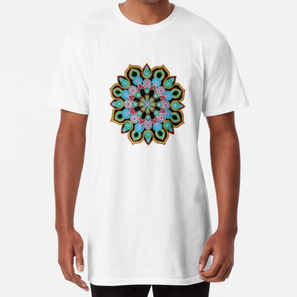 Red Star Dot Mandala - Art&Deco By Natasha  Long T-Shirt