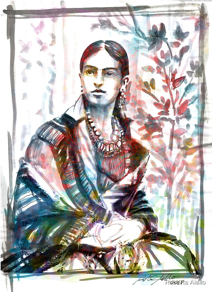 Frida watercolor portrait by Roberta Aiello