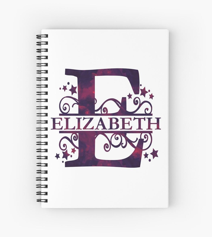 Elizabeth | Girls Name and Monogram in Dark Purple by PraiseQuotes
