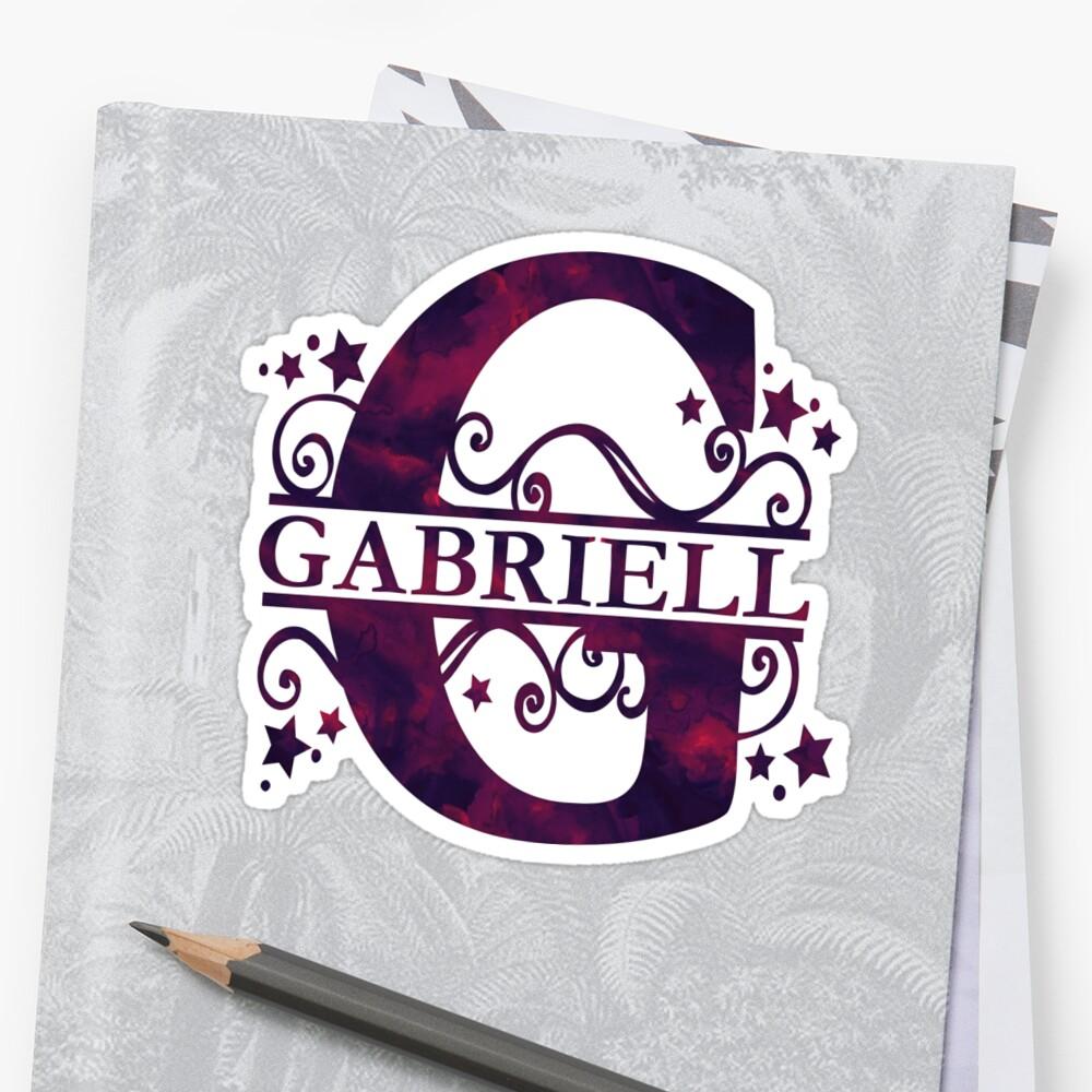 Gabriell   Girls Name and Monogram in Dark Purple by PraiseQuotes