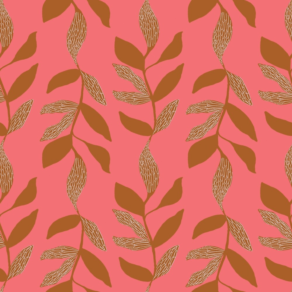 Brown textured leaves on coral by Pattern-Design