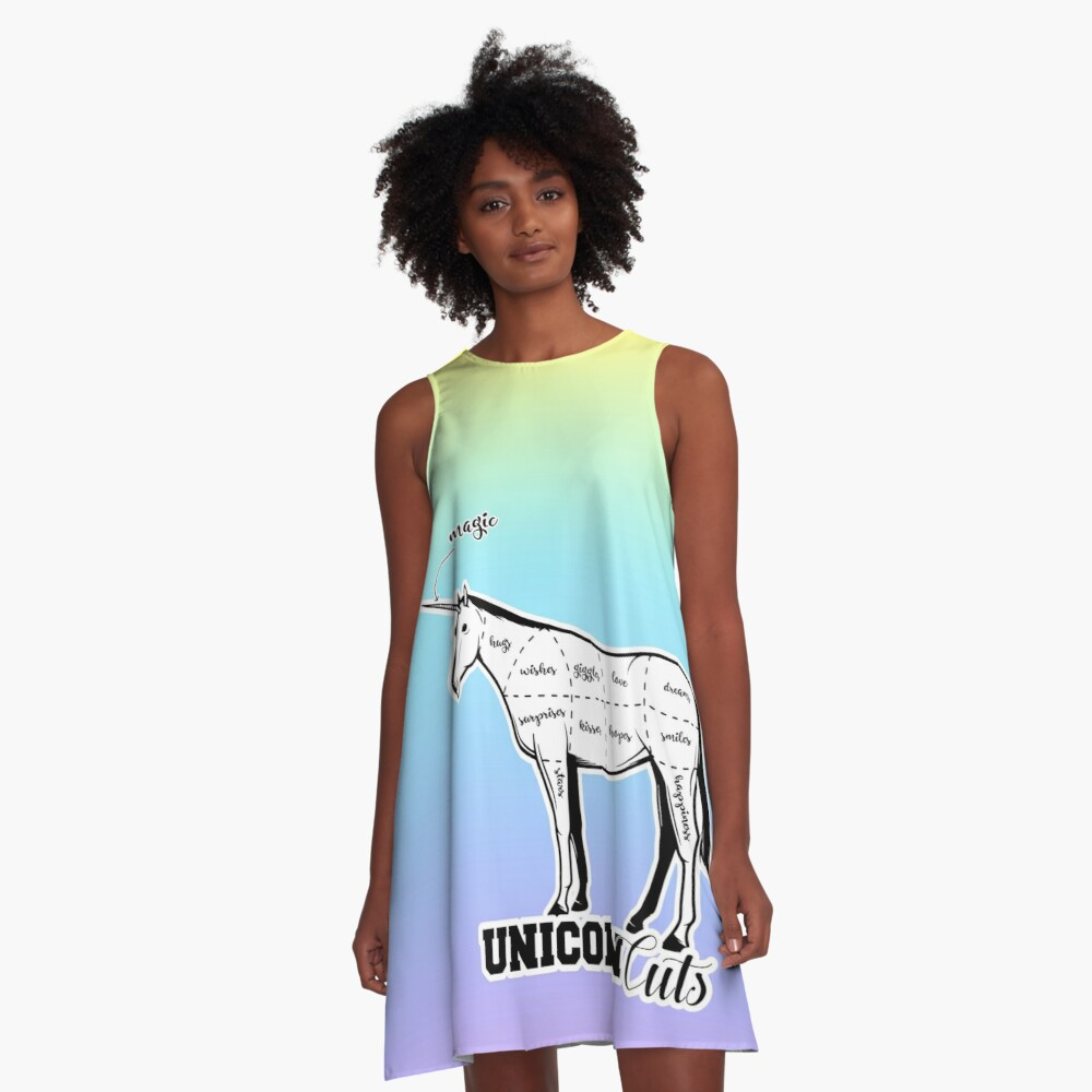 Unicorn cuts retro funny meat from unicorns bacon cut on pastel rainbow flag candy cute background sarcastic meme (see description for more) HD HIGH QUALITY ONLINE STORE A-Line Dress