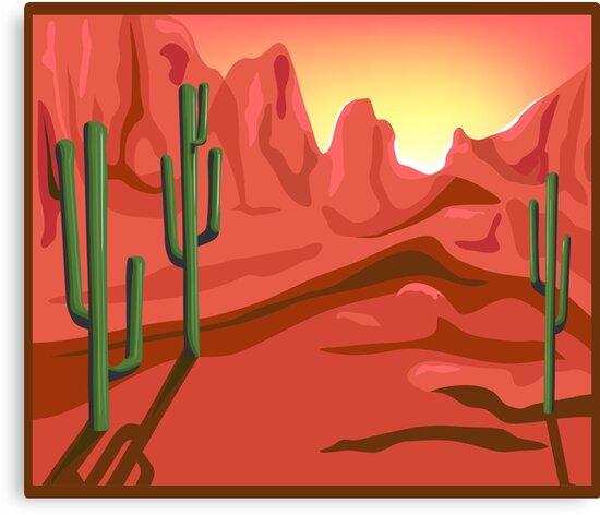Red Rock Saguro Cactus Sunset Landscape by Charmaine Paulson