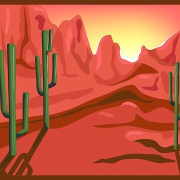 Red Rock Saguro Cactus Sunset Landscape by redwindy