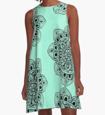 Black Mural Mandala - Art&Deco By Natasha A-Line Dress