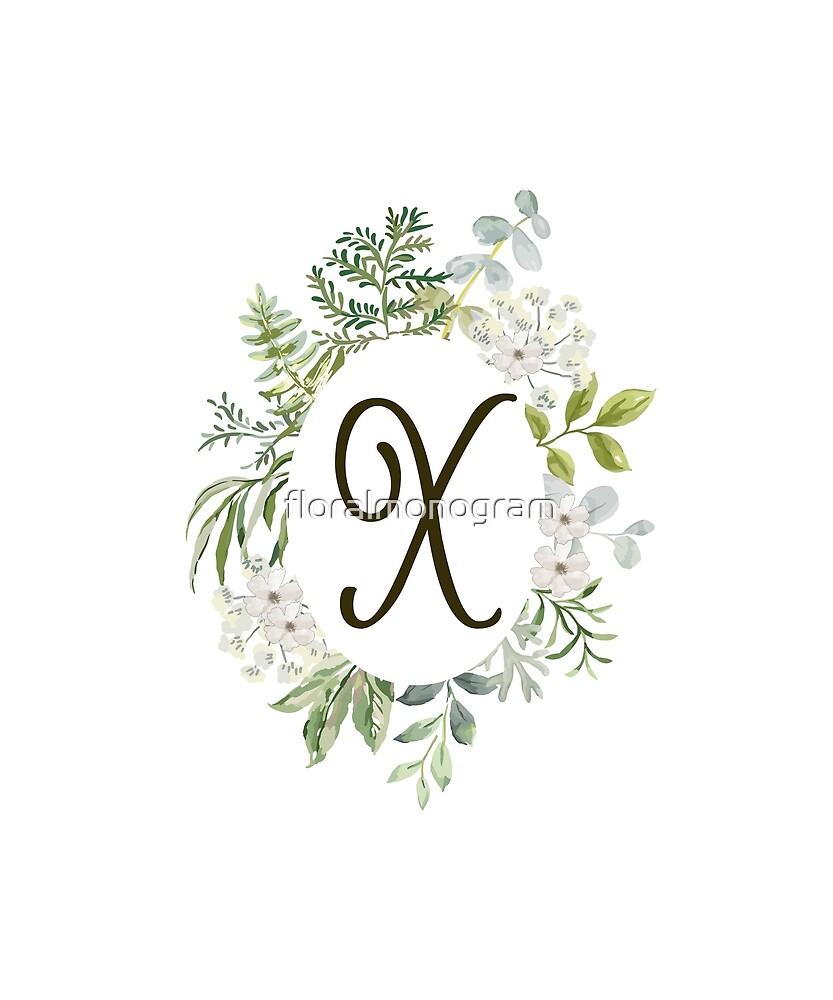 Monogram X Forest Foliage Oval by floralmonogram