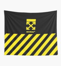 Off White Cover Full Yellow Stripe Wall Tapestry