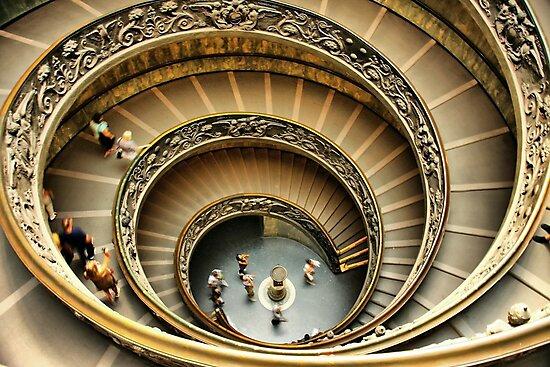 Vatican Museum Stairway: Looking Down by Barbara  Brown