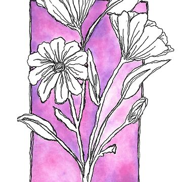 Pink Watercolor Flowers by calyla