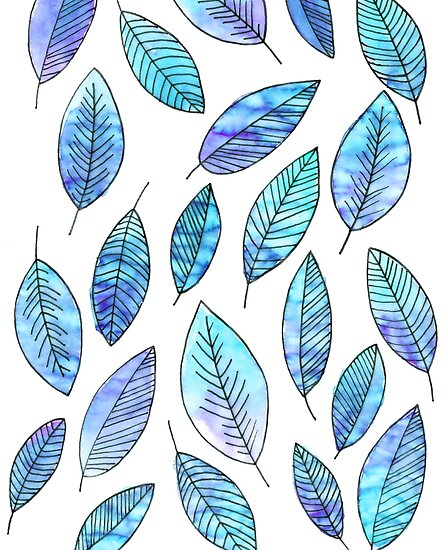 Blue Autumn Leaf Pattern  by letteryourlife