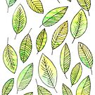 Green Autumn Leaf Pattern by letteryourlife