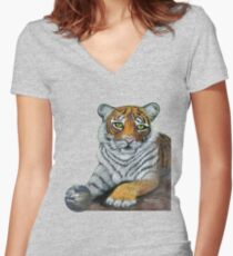 Hilary  Robinsons tigers paw  Women's Fitted V-Neck T-Shirt