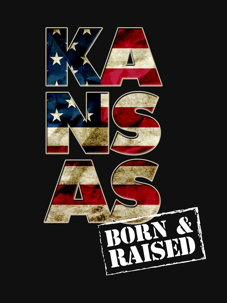 Kansas Fan Gift Sports Football US Flag Proud Strong Born And Raised by djpraxis