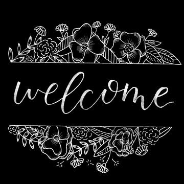 Welcome Florals Black by letteryourlife