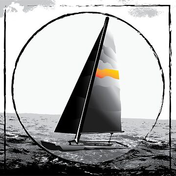 Black and White Sailboat Design by katie-rosell
