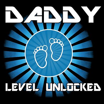 Daddy Level Unlocked Funny Dad Game Geek Gift by JapaneseInkArt