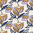 Colour block floral on cream by Pattern-Design