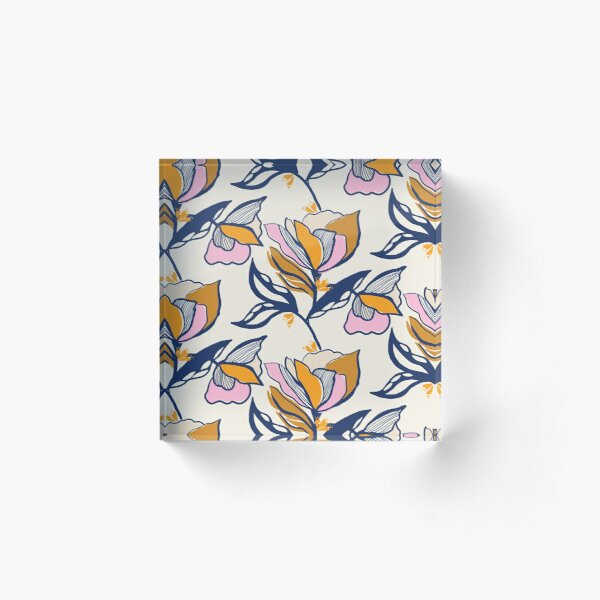 Colour block floral on cream Acrylic Block