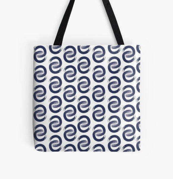 Shoreline C in Navy All Over Print Tote Bag