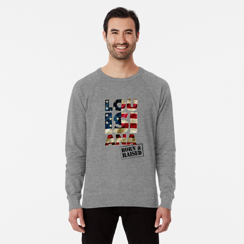 Louisiana Fan Gift Sports Football US Flag Proud Strong Awesome Design (3) (2) Lightweight Sweatshirt