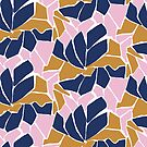 Cut paper abstract floral in pink, gold and navy by Pattern-Design