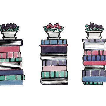 Usambaraveilchen und lila Bücher von gentlecounsel