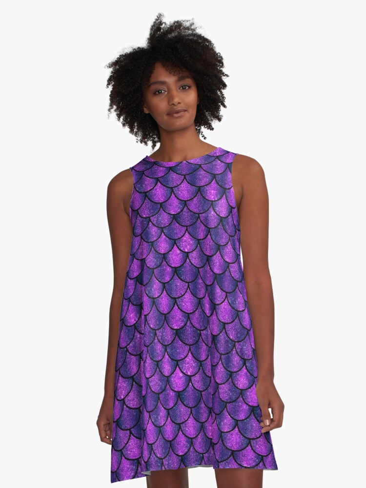 Mermaid Sparkling Purple Scales Pattern A-Line Dress Front