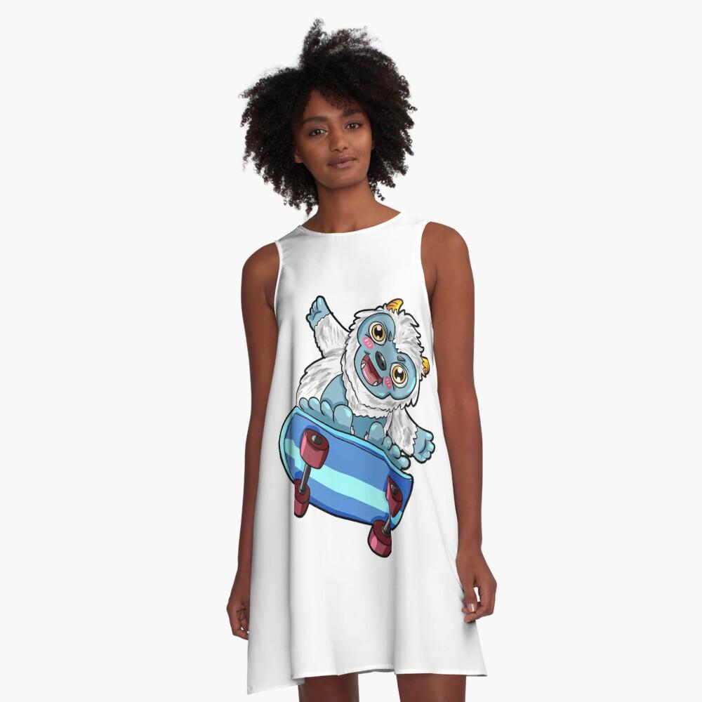 Yeti Skateboard Sasquatch A-Line Dress Front