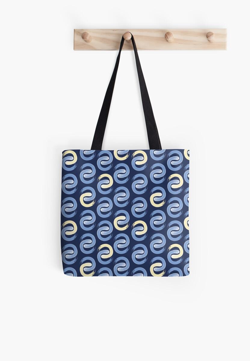Shoreline C Blue & Lemon on Navy by radgedesign