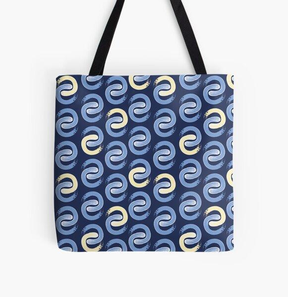 Shoreline C Blue & Lemon on Navy All Over Print Tote Bag