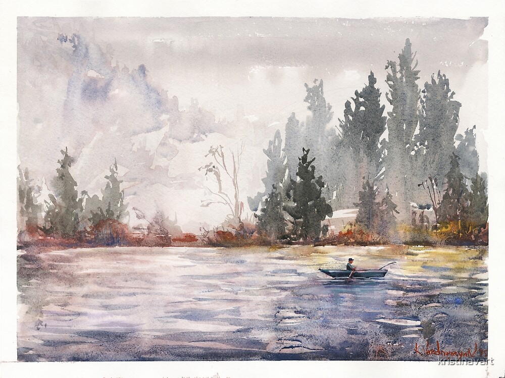 Fishing Watercolors by kristinavart