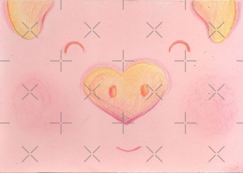 Cute happy pink pig face by muniko-drawings
