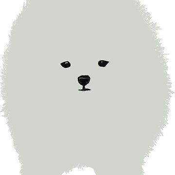 Cute Fluffy White Cartoon Dog  by Manitarka