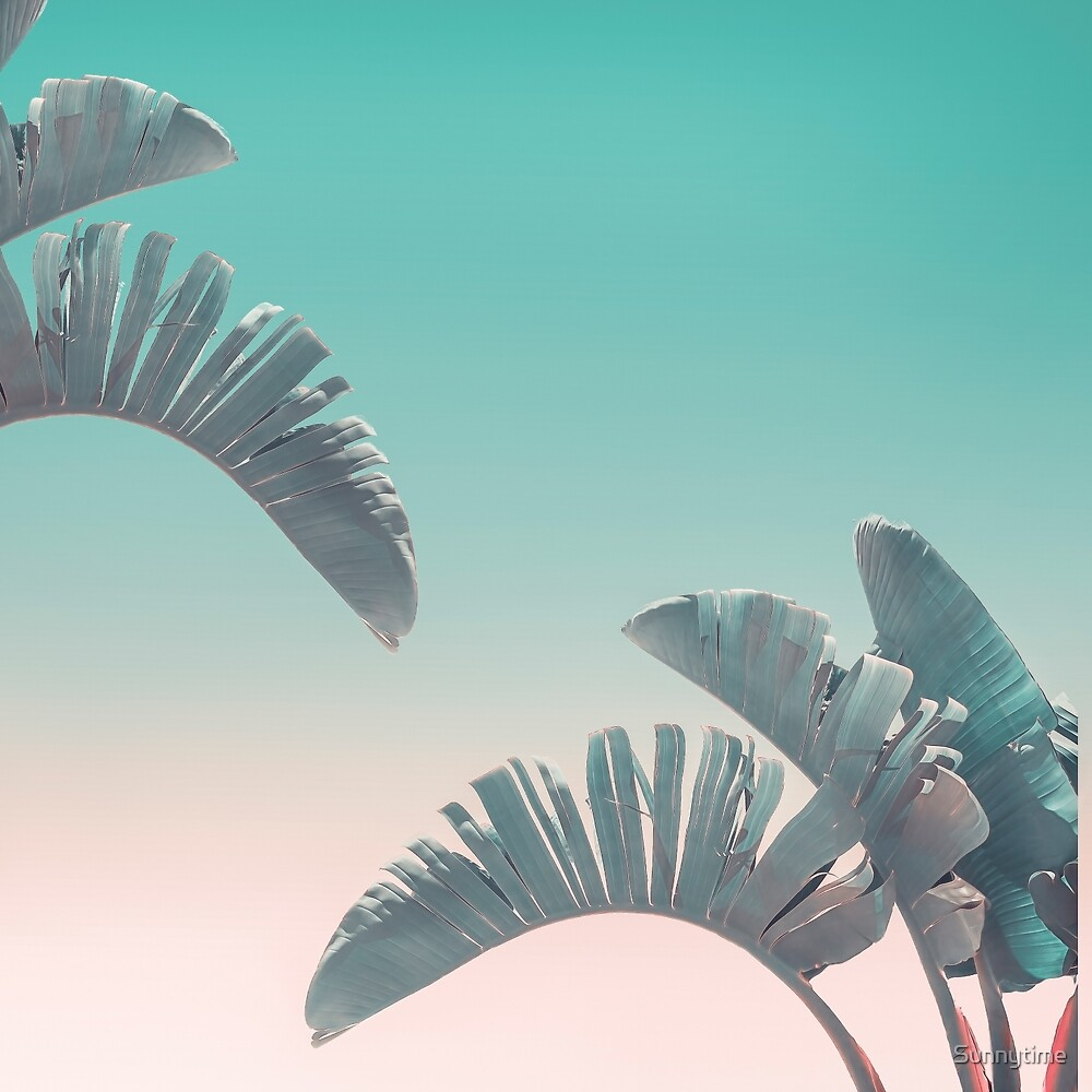 Tropical Palm Leaves In Soft Pastel Colors by Sunnytime