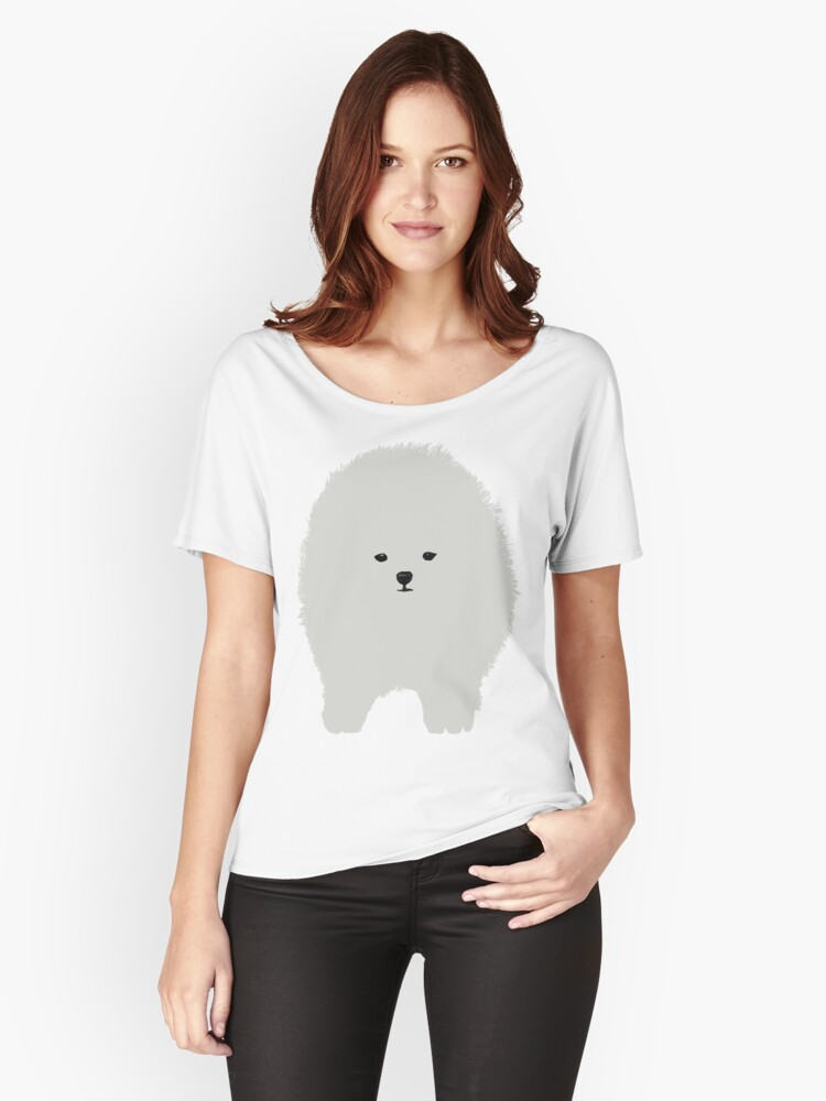 Cute Fluffy White Cartoon Dog  Women's Relaxed Fit T-Shirt Front