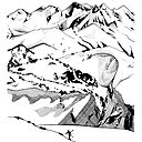 Backcountry Skiing And Hiking The Mountains Original Pen And Ink Illustration Whistler Sticker By Snowlineart Redbubble