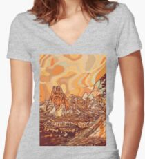 Abstract mountains Women's Fitted V-Neck T-Shirt