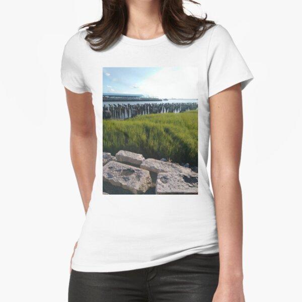 Green, #green, plants, #plants, rocks, #rocks Fitted T-Shirt