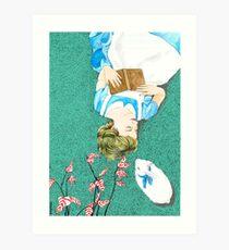 Book Lover Illustration inspired by Alice Art Print