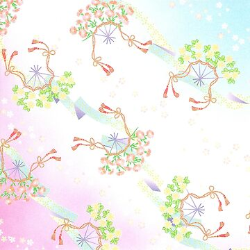 Japanese floral pattern pink by Geekimpact