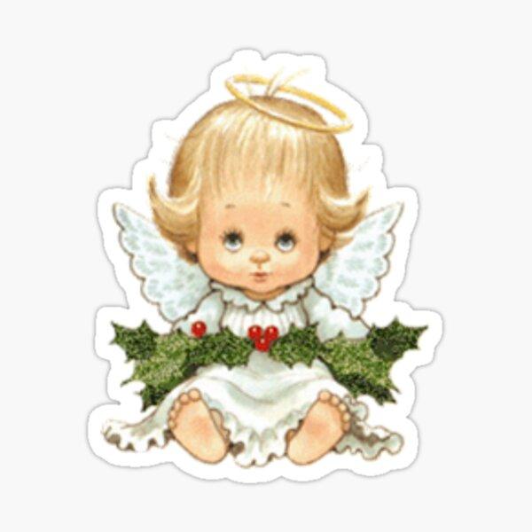 Cute Christmas Baby Angel y Holly Pegatina