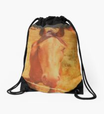 Horse Is Red Drawstring Bag