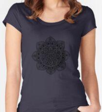 Black Mural Mandala - Art&Deco By Natasha Women's Fitted Scoop T-Shirt