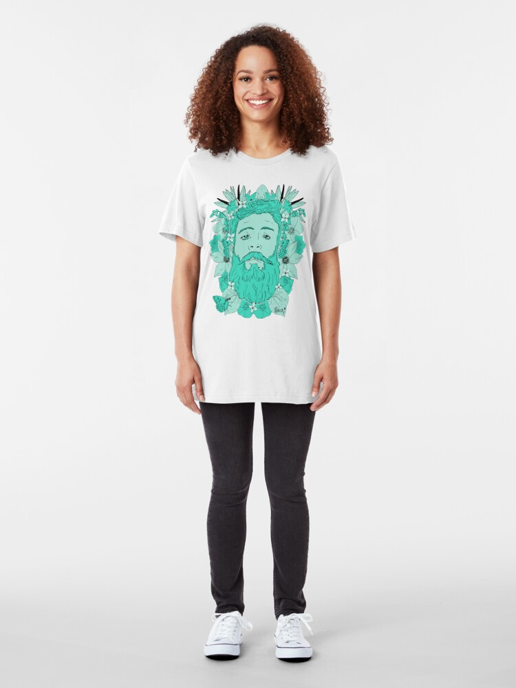Alternate view of Floral bear Mint Aqua Slim Fit T-Shirt