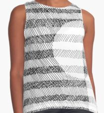 Hand drawn black and white Ink Pattern Contrast Tank