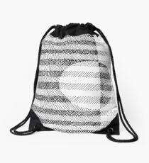 Hand drawn black and white Ink Pattern Drawstring Bag