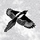 Elster mit großen Flügeln von Christine Krahl